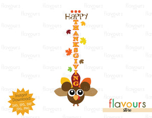 Happy Thanksgiving - Tall Vertical Front Porch Sign - SVG Files