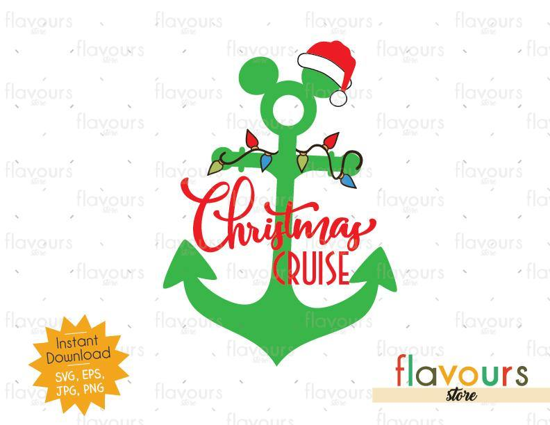 Mickey Anchor Christmas Lights - Disney Christmas - Cuttable Design Files (SVG, EPS, JPG, PNG) For Silhouette and Cricut