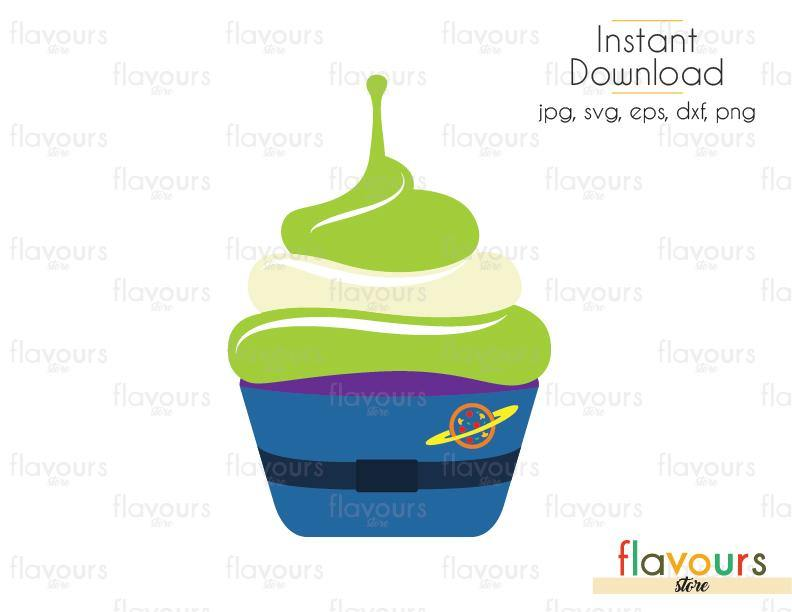 Alien Cupcake - Toy Story - Cuttable Design Files (Svg, Eps, Dxf, Png, Jpg) For Silhouette and Cricut