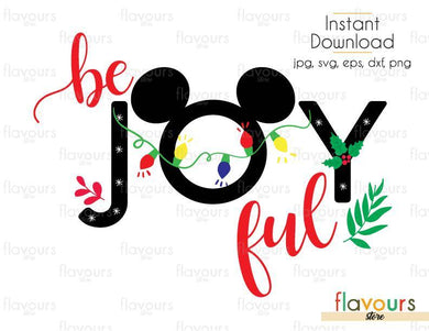 Be Joyful - Mickey Ears - Cuttable Design Files (SVG, EPS, DXF, PNG) For Silhouette and Cricut