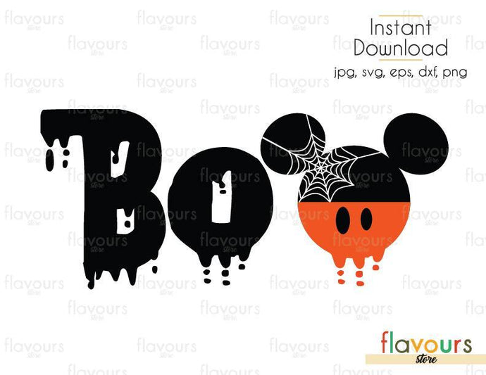 Mickey BOO Ears Halloween - Cuttable Design Files (Svg, Eps, Dxf, Png, Jpg) For Silhouette and Cricut
