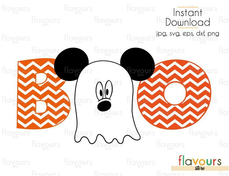 Boo Mickey Ghost - Cuttable Design Files (Svg, Eps, Dxf, Png, Jpg) For Silhouette and Cricut