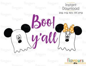 Boo! Y'all Minnie And Mickey Ghost - Cuttable Design Files (Svg, Eps, Dxf, Png, Jpg) For Silhouette and Cricut