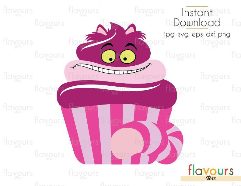 Cheshire Cat Cupcake - Alice in Wonderland - Cuttable Design Files (Svg, Eps, Dxf, Png, Jpg) For Silhouette and Cricut