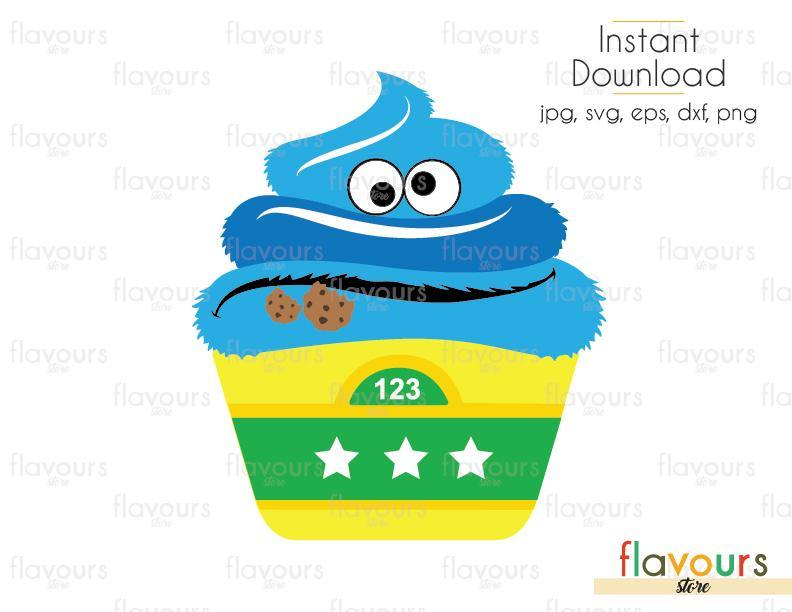 Cookie Monster Cupcake - Sesame Street - Cuttable Design Files (Svg, Eps, Dxf, Png, Jpg) For Silhouette and Cricut