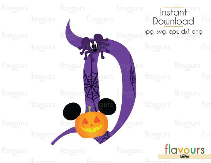 Disney D Halloween - Cuttable Design Files (Svg, Eps, Dxf, Png, Jpg) For Silhouette and Cricut