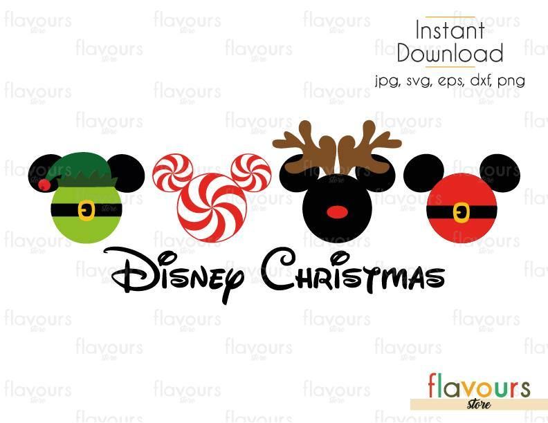 Disney Christmas - Mickey Elf Peppermint Reindeer and Santa- Cuttable Design Files (SVG, EPS, DXF, PNG) For Silhouette and Cricut