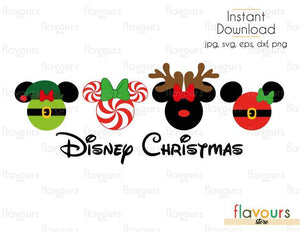 Disney Christmas - Minnie Elf Peppermint Reindeer and Santa- Cuttable Design Files (SVG, EPS, DXF, PNG) For Silhouette and Cricut