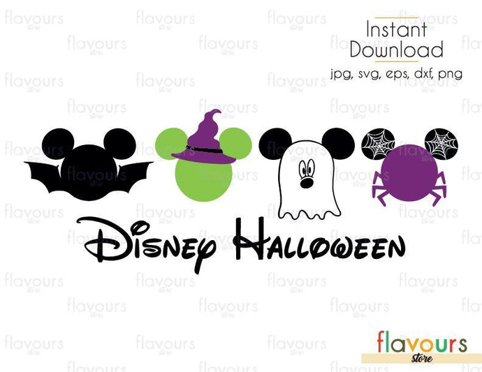 Disney Halloween Mickey Bat Sorcerer Spider Ghost - Cuttable Design Files (Svg, Eps, Dxf, Png, Jpg) For Silhouette and Cricut