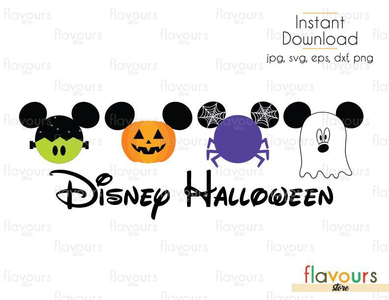 Disney Halloween Mickey Frankenstein Pumpkin Spider Ghost - Cuttable Design Files (Svg, Eps, Dxf, Png, Jpg) For Silhouette and Cricut