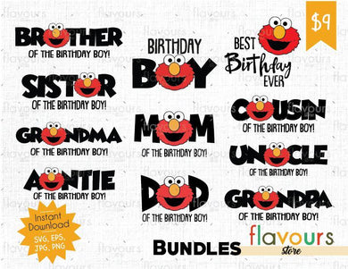 Elmo Bday Boy Bundle - Sesame Street - Cuttable Design Files (SVG, EPS, JPG, PNG) For Silhouette and Cricut