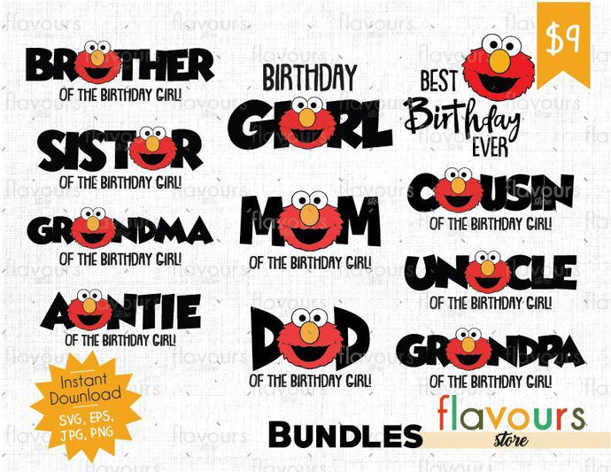 Elmo Birthday Girl Bundle - Sesame Street - Cuttable Design Files (SVG, EPS, JPG, PNG) For Silhouette and Cricut - FlavoursStore