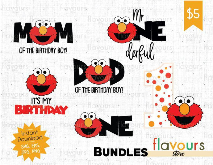 Elmo Birthday Boy 1st Birthday Bundle - Sesame Street - SVG Cut File
