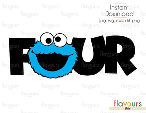 Four - Cookie Monster - Sesame Street - Cuttable Design Files (Svg, Eps, Dxf, Png, Jpg) For Silhouette and Cricut