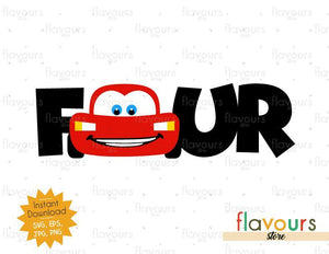 Four - Lightning Mcqueen - Cars - Instant Download - SVG FILES