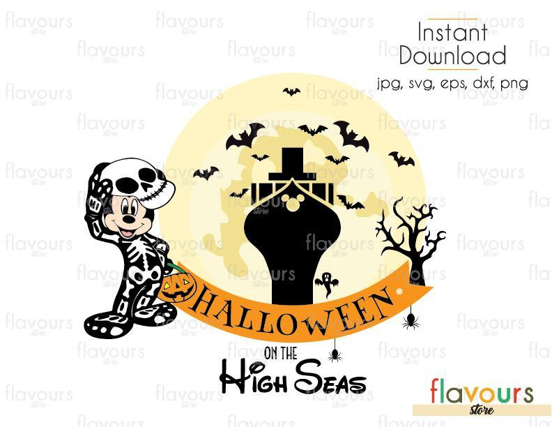 Halloween On The High Seas - Cuttable Design Files (Svg, Eps, Dxf, Png, Jpg) For Silhouette and Cricut
