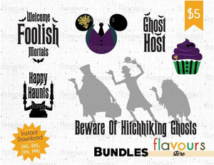 Haunted Mansion Bundle - Cuttable Design Files (SVG, EPS, JPG, PNG) For Silhouette and Cricut