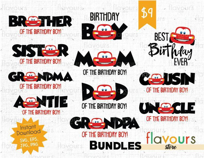 Lightning Mcqueen Cars Bday Boy Bundle - Disney - Cuttable Design Files (SVG, EPS, JPG, PNG) For Silhouette and Cricut