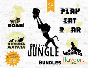 Lion King Bundle - Cuttable Design Files (SVG, EPS, JPG, PNG) For Silhouette and Cricut