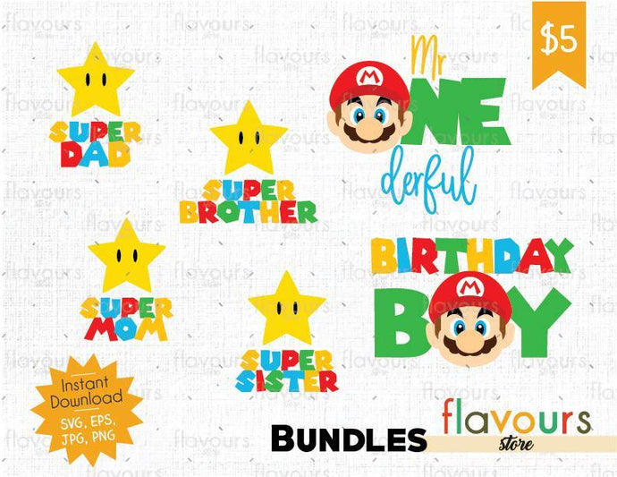 Mario Bros Birthday - Birthday Bundle - Cuttable Design Files (SVG, EPS, JPG, PNG) For Silhouette and Cricut - FlavoursStore