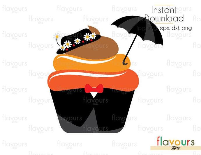 Mary Poppins Cupcake - Mary Poppins - Cuttable Design Files (Svg, Eps, Dxf, Png, Jpg) For Silhouette and Cricut