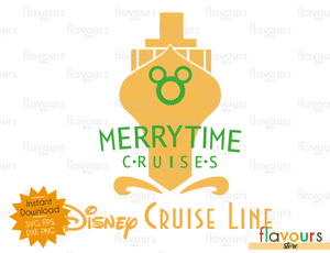 MerryTime Cruise Gold - Disney Christmas - Cuttable Design Files (SVG, EPS, DXF, PNG) For Silhouette and Cricut