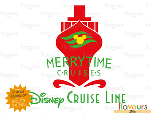 merrytime cruise red disney christmas cuttable design files svg eps dxf