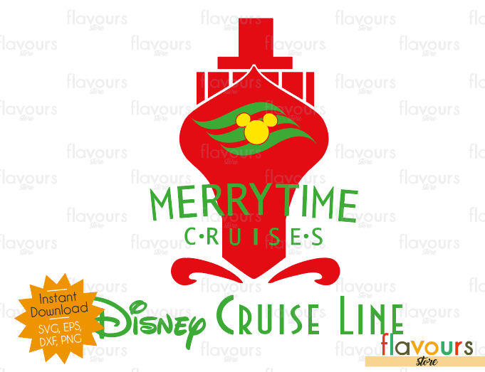 MerryTime Cruise Red - Disney Christmas - Cuttable Design Files (SVG, EPS, DXF, PNG) For Silhouette and Cricut