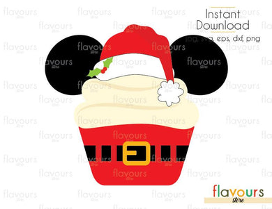 Mickey Christmas Cupcake - Disney Christmas - Cuttable Design Files (Svg, Eps, Dxf, Png, Jpg) For Silhouette and Cricut