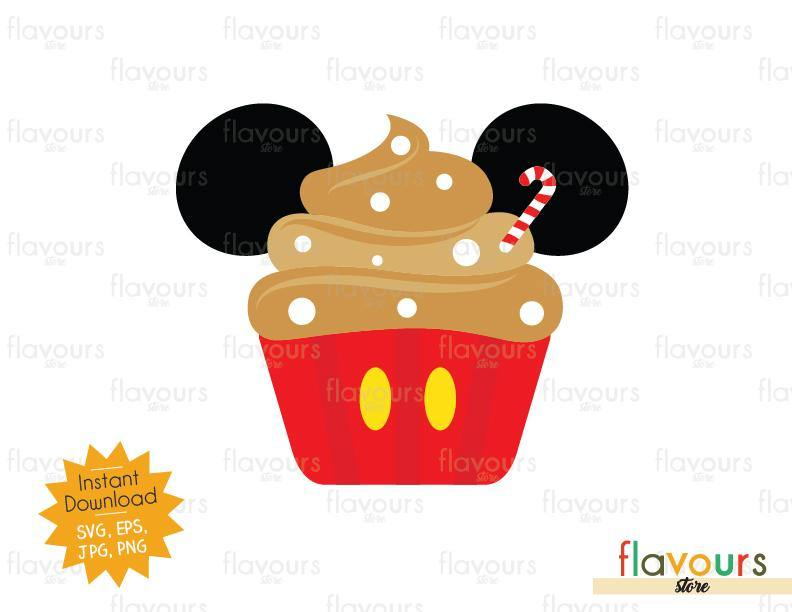 Mickey Christmas Cupcake - Cuttable Design Files (Svg, Eps, Png, Jpg) For Silhouette and Cricut
