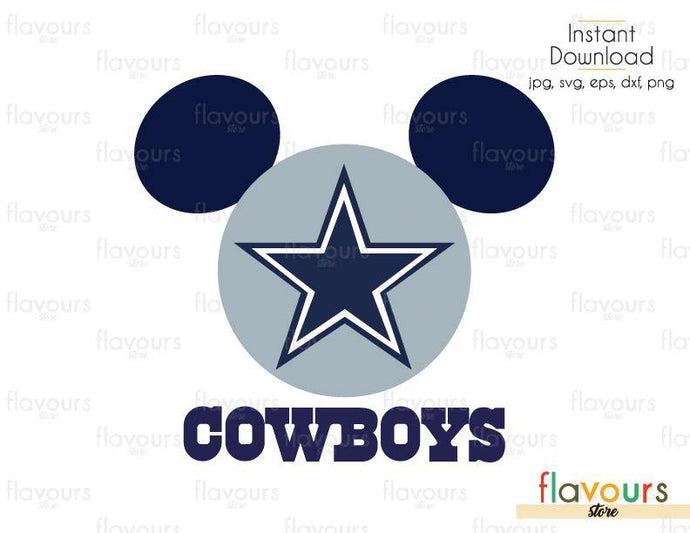 Mickey Cowboys - Cuttable Design Files (Svg, Eps, Dxf, Png, Jpg) For Silhouette and Cricut