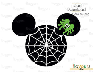 Mickey Ears Spider - Cuttable Design Files (Svg, Eps, Dxf, Png, Jpg) For Silhouette and Cricut