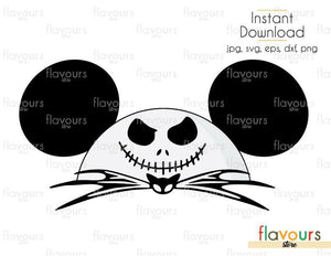 Mickey Jack Skellington - Cuttable Design Files (Svg, Eps, Dxf, Png, Jpg) For Silhouette and Cricut