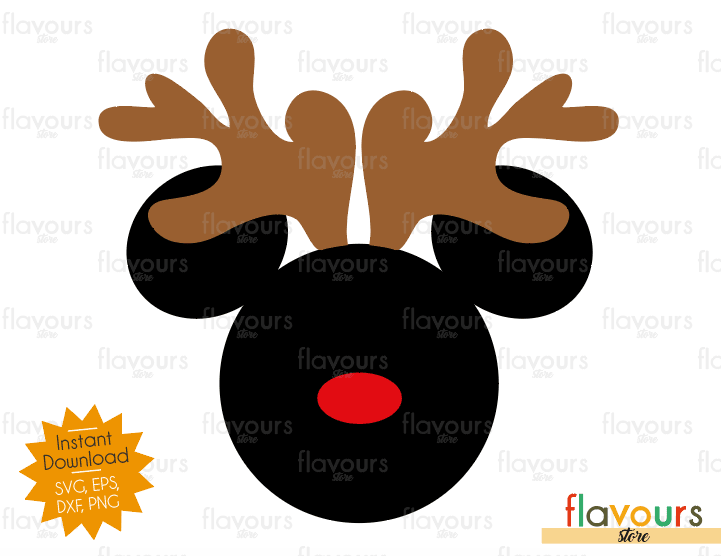 Mickey Mouse Reindeer - Disney - Cuttable Design Files (SVG, EPS, DXF, PNG) For Silhouette and Cricut