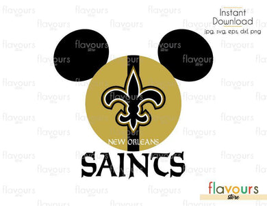 Mickey New Orleans Saints - Cuttable Design Files (Svg, Eps, Dxf, Png, Jpg) For Silhouette and Cricut