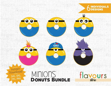Minions Donuts Inspired Bundle - Instant Download - SVG Cut File