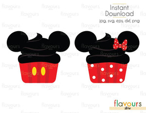 Minnie And Minnie Cupcake - Disney - Cuttable Design Files (Svg, Eps, Dxf, Png, Jpg) For Silhouette and Cricut