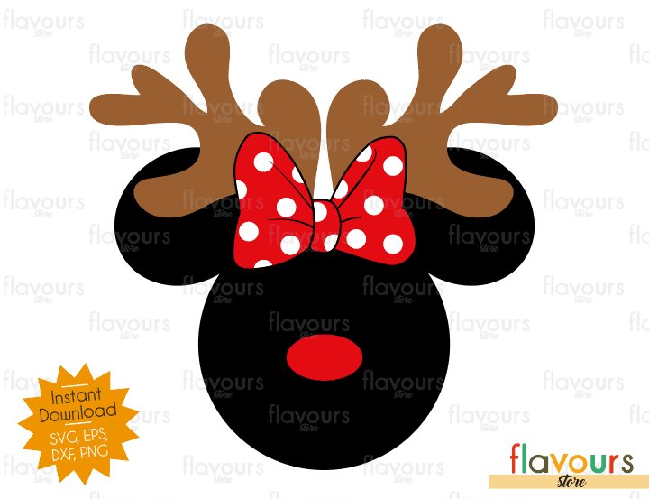 Minnie Mouse Reindeer - Disney - Cuttable Design Files (SVG, EPS, DXF, PNG) For Silhouette and Cricut