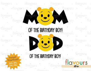 Mom and Dad of the Birthday Boy - Winnie The Pooh - Cuttable Design Files