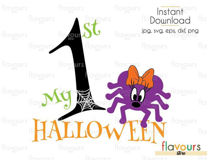 My 1st Halloween Minnie Spider - Cuttable Design Files (Svg, Eps, Dxf, Png, Jpg) For Silhouette and Cricut