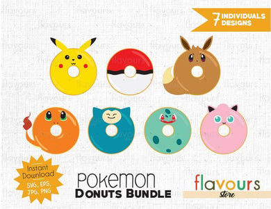 Pokemon Donuts Inspired Bundle - Instant Download - SVG Cut File