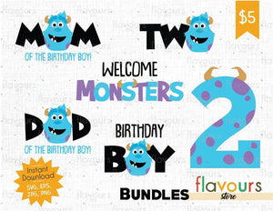 Sulley -Two - Monsters Inc - Birthday Bundle - Cuttable Design Files (SVG, EPS, JPG, PNG) For Silhouette and Cricut