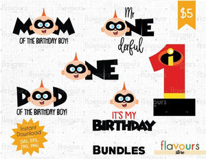 The Incredibles - Jack Jack Birthday Bundle - Cuttable Design Files (SVG, EPS, JPG, PNG) For Silhouette and Cricut