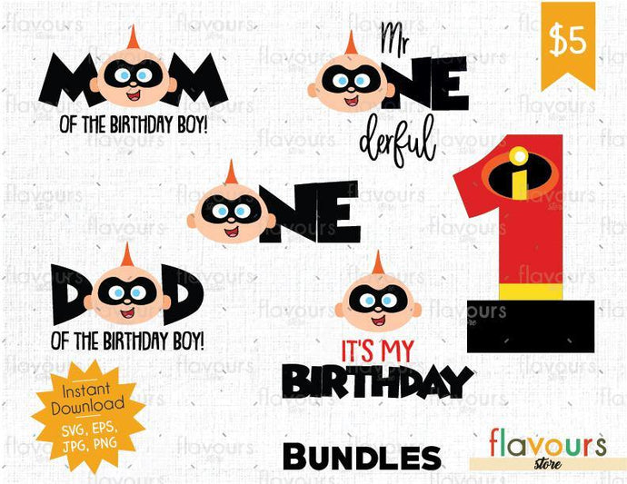 The Incredibles - Jack Jack Birthday Bundle - Cuttable Design Files (SVG, EPS, JPG, PNG) For Silhouette and Cricut - FlavoursStore
