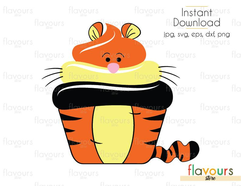 Tigger Cupcake - Winnie The Pooh - Cuttable Design Files (Svg, Eps, Dxf, Png, Jpg) For Silhouette and Cricut