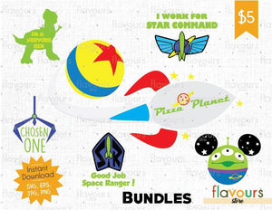 Toy Story Bundle - Cuttable Design Files (SVG, EPS, JPG, PNG) For Silhouette and Cricut