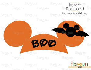 BOO Mickey Ears - Cuttable Design Files (Svg, Eps, Dxf, Png, Jpg) For Silhouette and Cricut