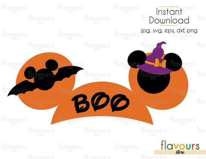 BOO Minnie Ears - Cuttable Design Files (Svg, Eps, Dxf, Png, Jpg) For Silhouette and Cricut - FlavoursStore