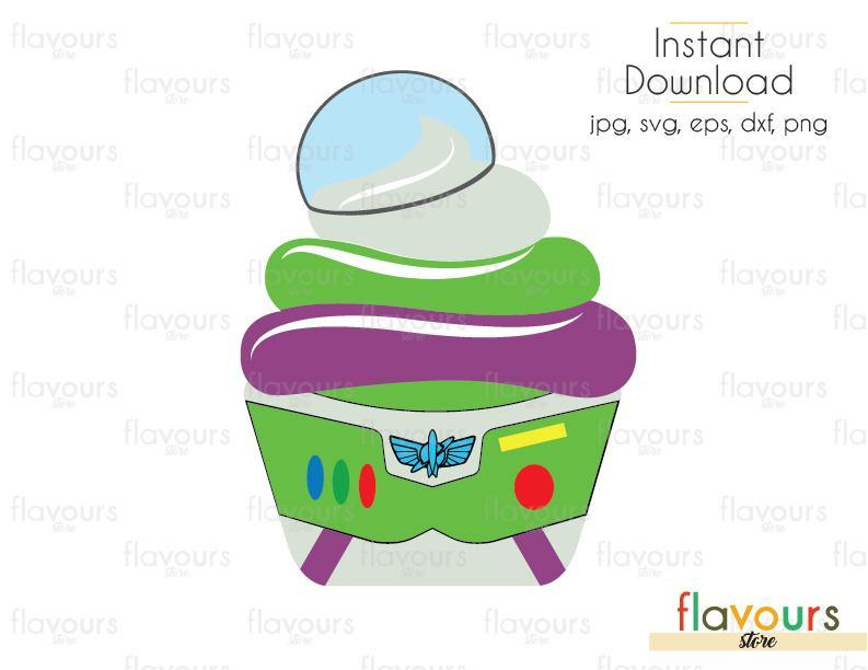 Buzz Lightyear Cupcake - Toy Story- Cuttable Design Files (Svg, Eps, Dxf, Png, Jpg) For Silhouette and Cricut