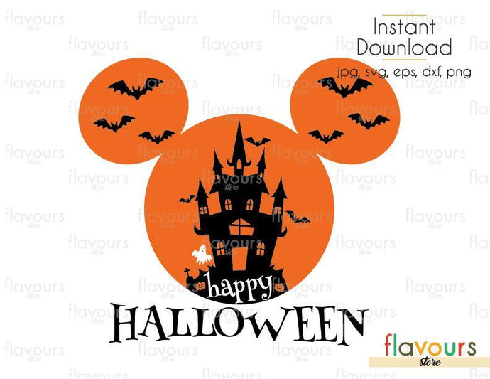 Happy Halloween Mickey Castle Ears- Cuttable Design Files (Svg, Eps, Dxf, Png, Jpg) For Silhouette and Cricut - FlavoursStore